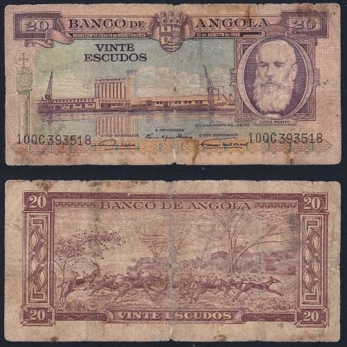 Nota de 20 Escudos 1956 Silva Porto, 20$00 15/08/1956 - Banco de Angola (Muito Circulada)