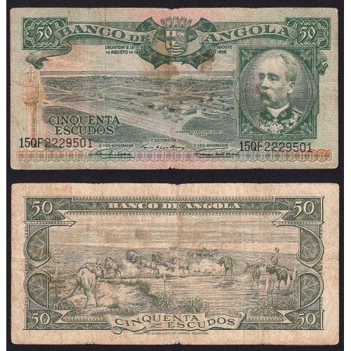 Nota de 50 Escudos 1956 Henrique de Carvalho, 50$00 15/08/1956 - Banco de Angola (Circulada)