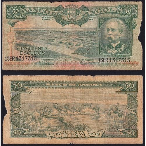 Nota de 50 Escudos 1956 Henrique de Carvalho, 50$00 15/08/1956 - Banco de Angola (Circulada +)