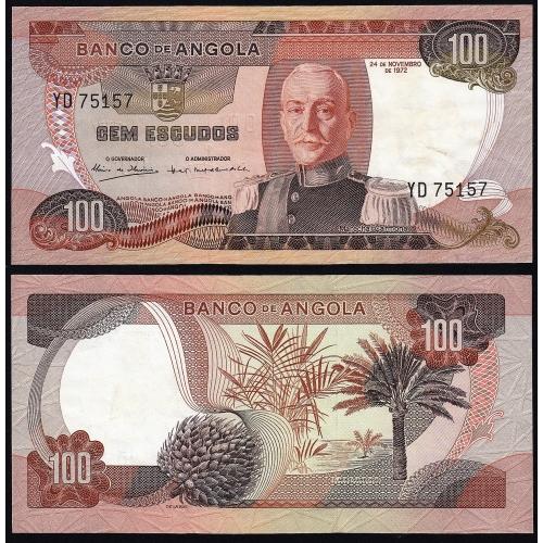 Nota de 100 Escudos 1972 Marechal Carmona, 100$00 24/11/1972 - Banco de Angola (Circulada) - Capicua