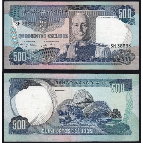 Nota de 500 Escudos 1972 Marechal Carmona, 500$00 24/11/1972 - Banco de Angola (Circulada) - Capicua