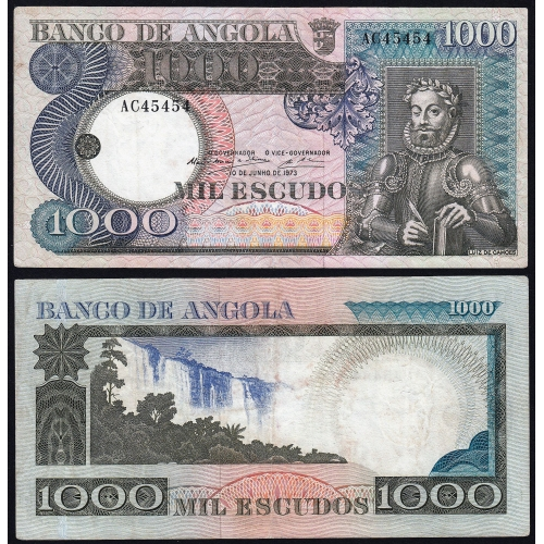 Nota de 1000 Escudos 1973 Luiz de Camões, 1000$00 10/06/1973 - Banco de Angola (Circulada) - Capicua