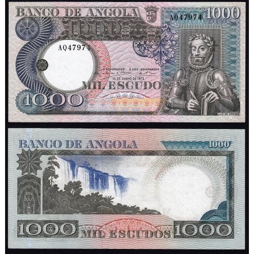 Nota de 1000 Escudos 1973 Luiz de Camões, 1000$00 10/06/1973 - Banco de Angola (Muito Pouco Circulada) - Capicua