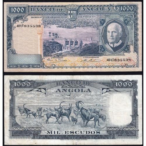 Nota de 1000 Escudos 1970 Américo Tomás, 1000$00 10/06/1970 - Banco de Angola (Circulada) - Capicua