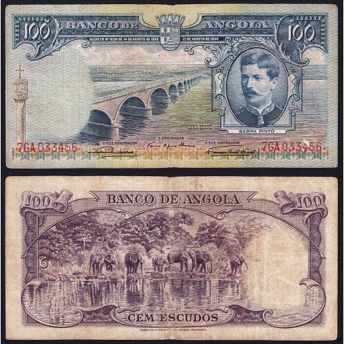Nota de 100 Escudos 1956 Serpa Pinto, 100$00 15/08/1956 - Banco de Angola (Circulada)