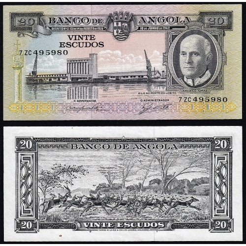 Nota de 20 Escudos 1962 Américo Tomás, 20$00 10/06/1962 - Banco de Angola (Pouco Circulada)
