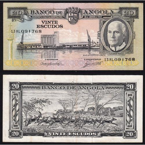 Nota de 20 Escudos 1962 Américo Tomás, 20$00 10/06/1962 - Banco de Angola (Circulada)