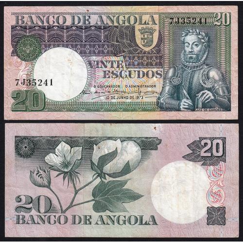 Nota de 20 Escudos 1973 Luiz de Camões, 20$00 10/06/1973 - Banco de Angola (Circulada)