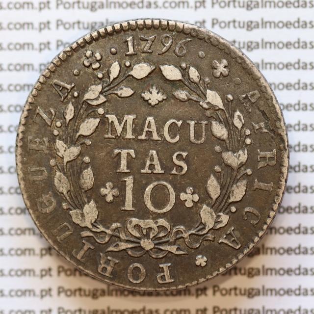 Moeda 10 Macutas 1796 prata , Angola Reinado de D. Maria I (1786 -1799) - World Coins Angola  KM 36