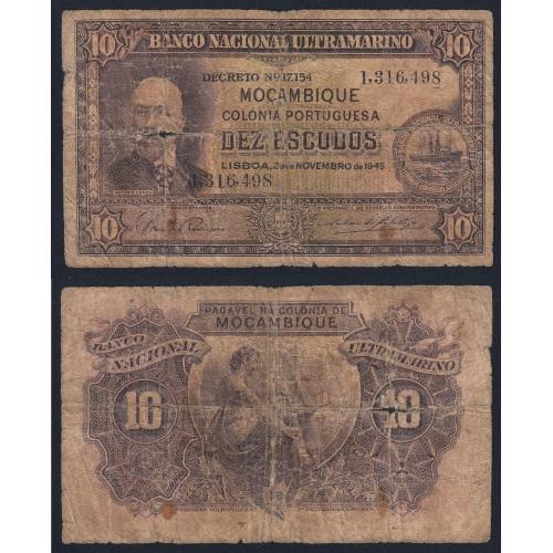 Nota Dez Escudos 1945 Antonio Ennes, 10 Escudos 29/11/1945 - Moçambique Pick 95 (Muito Circulada)