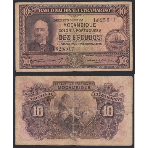 Nota Dez Escudos 1945 Antonio Ennes, 10 Escudos 29/11/1945 - Moçambique Pick 95 (Circulada)