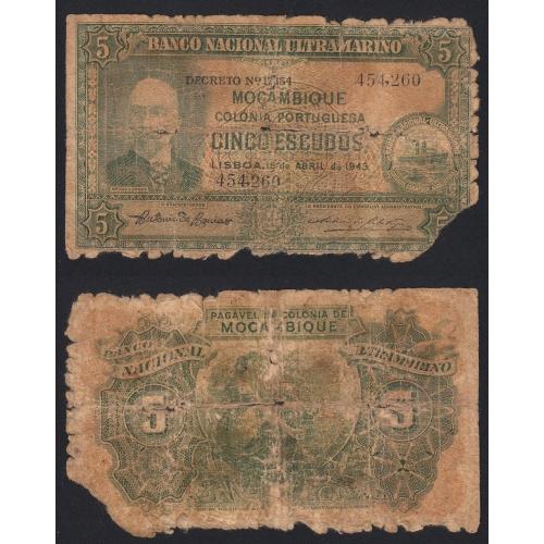 Nota Cinco Escudos 1943 António Ennes, 5 Escudos 15/04/1943 - Moçambique Pick 89 (Muito Circulada)
