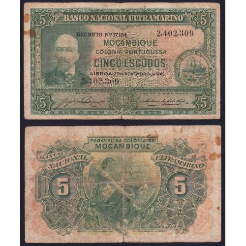Nota Cinco Escudos 1945 Antonio Ennes, 5 Escudos 29/11/1945 - Moçambique Pick 94 (Circulada)