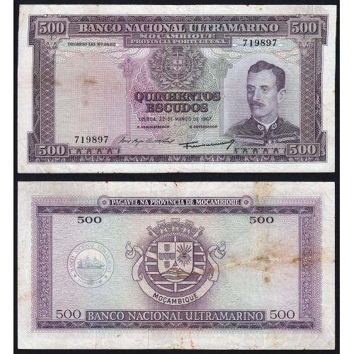 Nota Quinhentos Escudos 1967 Caldas Xavier, 500 Escudos 22/03/1967 - Moçambique Pick 110 (Circulada)