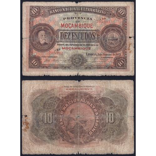 Nota Dez Escudos 1921 Oliveira Chamiço, 10 Escudos 01/01/1921 - Moçambique Pick 69 (Circulada)