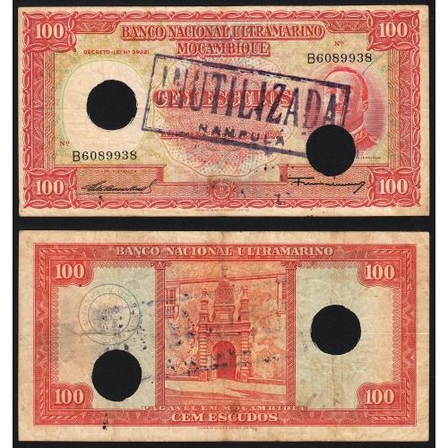 Nota Cem Escudos 1958 Aires de Ornelas c/ Furação e Carimbo de Inutilização, 100 Escudos 24/07/1958 - Moçambique Pick 107
