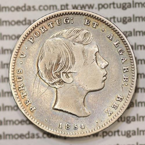 Moeda 200 Réis 1854 prata D. Pedro V (1853-1861) MBC - World Coins Portugal  KM491