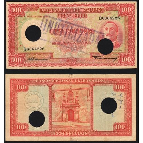 Nota Cem Escudos 1958 Aires de Ornelas c/ Furação e Carimbo de Inutilização, 24/07/1958 - Moçambique Pick 107