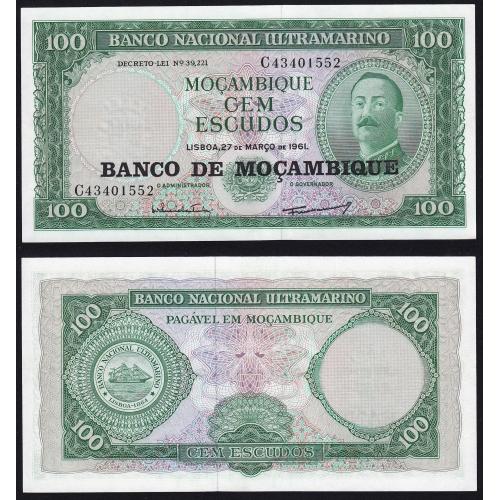 Nota Cem Escudos 1976 Aires de Ornelas, antiga nota 100 Escudos 27/03/1961 - Banco de Moçambique Pick 117 (Não Circulada)