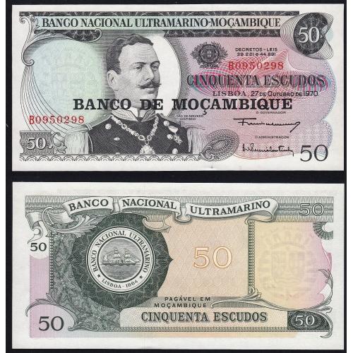 Nota Cinquenta Escudos 1976 J.Azevedo Coutinho, antiga nota 50 Escudos 27/10/1970 - Banco de Moçambique Pick 116 (Não Circulada)