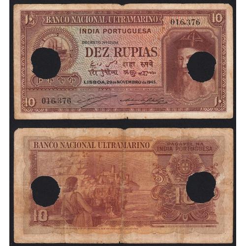 Nota Dez Rupias 1945 Afonso de Albuquerque c/ Furação, 10 Rupias 29/11/1945 - Portuguese India Pick 36 (Circulada)