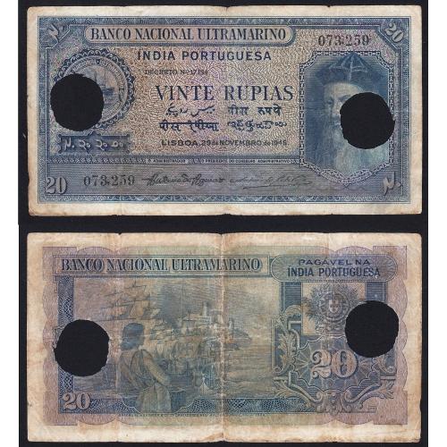 Nota Vinte Rupias 1945 Afonso de Albuquerque c/ Furação, 20 Rupias 29/11/1945 - Portuguese India Pick 37 (Circulada)