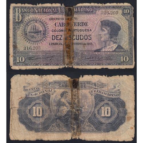 Nota Dez Escudos 1945 Bartolomeu Dias, 10 Escudos 16/11/1945 - Cabo Verde Pick 42 (Muito Circulada)