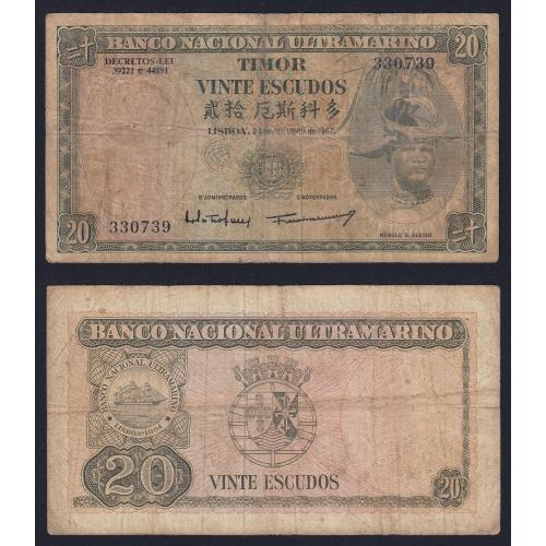 Nota Vinte Escudos 1967 Régulo D.Aleixo, 20 Escudos 24/10/1967 - Timor Pick 26 (Muito Circulada)