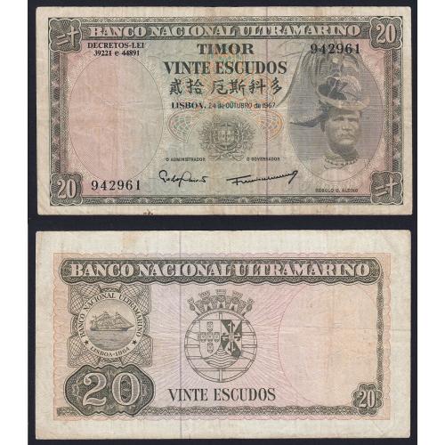 Nota Vinte Escudos 1967 Régulo D.Aleixo, 20 Escudos 24/10/1967 - Timor Pick 26 (Circulada)