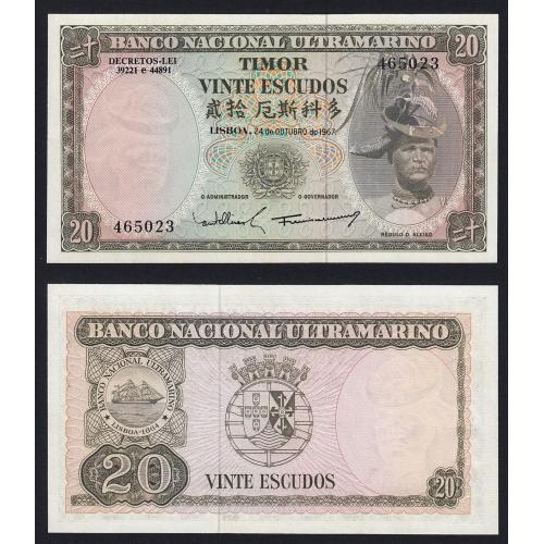 Nota Vinte Escudos 1967 Régulo D.Aleixo, 20 Escudos 24/10/1967 - Timor Pick 26 (Não Circulada)