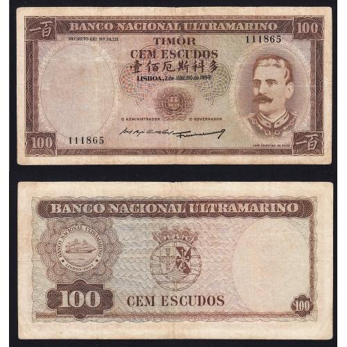 Nota Cem Escudos 1959 José Celestino da Silva, 100 Escudos 02/01/1959 - Timor Pick 24 (Circulada)