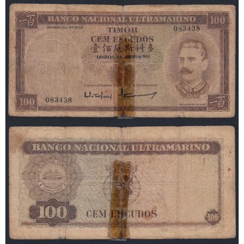 Nota Cem Escudos 1959 José Celestino da Silva, 100 Escudos 02/01/1959 - Timor Pick 24 (Muito Circulada)