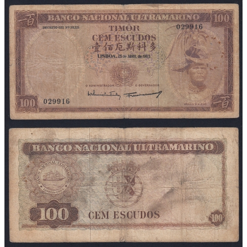 Nota Cem Escudos 1963 Régulo D.Aleixo, 100 Escudos 25/04/1963 - Timor Pick 28 (Muito Circulada)