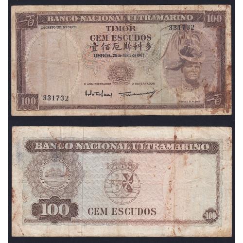 Nota Cem Escudos 1963 Régulo D.Aleixo, 100 Escudos 25/04/1963 - Timor Pick 28 (Circulada +)