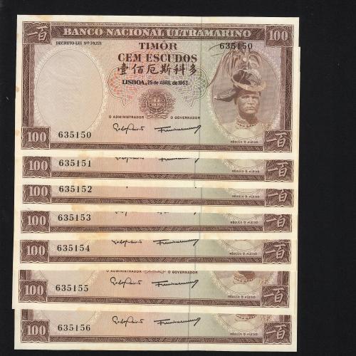 Lote de 7 Notas Cem Escudos 1963 Régulo D.Aleixo, 100 Escudos 25/04/1963 - Timor Pick 28 (Não Circulada) - Nºs Seguidos