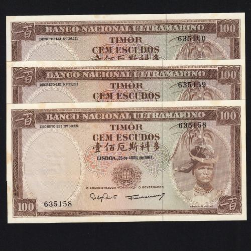 Lote de 3 Notas Cem Escudos 1963 Régulo D.Aleixo, 100 Escudos 25/04/1963 - Timor Pick 28 (Não Circuladas) - Nºs Seguidos