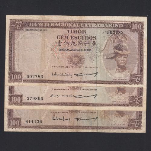 Lote de 3 Notas Cem Escudos 1963 Régulo D.Aleixo, 100 Escudos 25/04/1963 - Timor Pick 28 (Circuladas) - Assinaturas diferentes