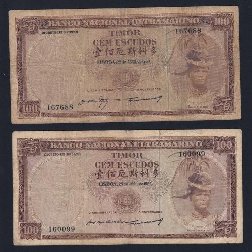 Lote de 2 Notas Cem Escudos 1963 Régulo D.Aleixo, 100 Escudos 25/04/1963 - Timor Pick 28 (Circuladas) - Assinaturas diferentes