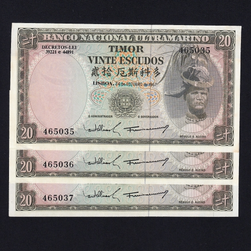 Lote de 6 Notas Vinte Escudos 1967 Régulo D.Aleixo, 20 Escudos 24/10/1967 - Timor Pick 26 (Não Circuladas) - Nºs Seguidos