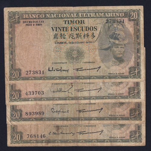 Lote de 7 Notas Vinte Escudos 1967 Régulo D.Aleixo, 20 Escudos 24/10/1967 - Timor Pick 26 (Circuladas) - Assinaturas diferentes