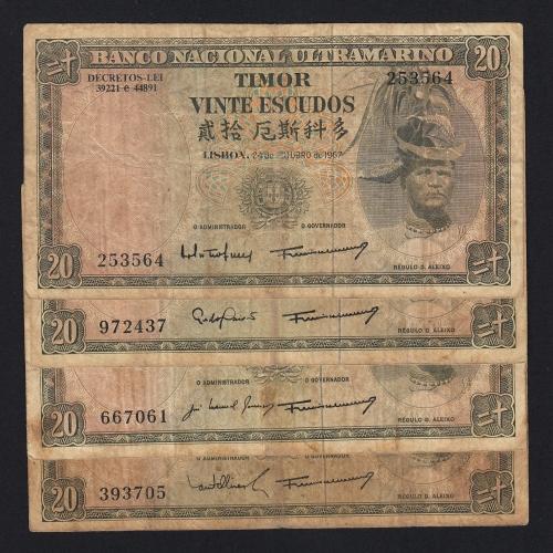 Lote de 4 Notas Vinte Escudos 1967 Régulo D.Aleixo, 20 Escudos 24/10/1967 - Timor Pick 26 (Circuladas) - Assinaturas diferentes