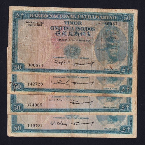 Lote de 7 Notas Cinquenta Escudos 1967 Régulo D.Aleixo, 50 Escudos 24/10/1967 - Timor Pick 27 (Circuladas) -