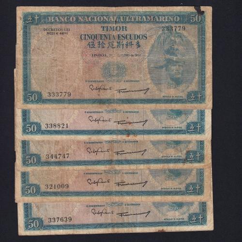 Lote de 25 Notas Cinquenta Escudos 1967 Régulo D.Aleixo, 24/10/1967 - Timor Pick 27 (Circuladas)