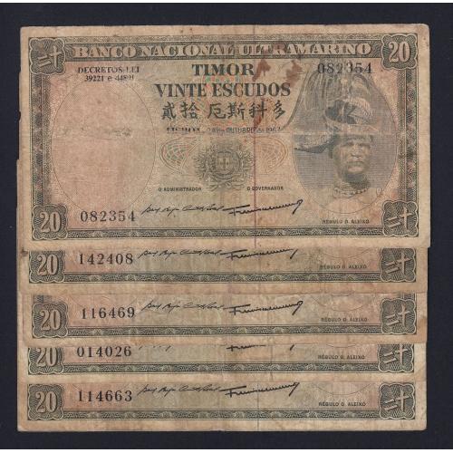 Lote de 25 Notas Vinte Escudos 1967 Régulo D.Aleixo, 20 Escudos 24/10/1967 - Timor Pick 26 (Circuladas)