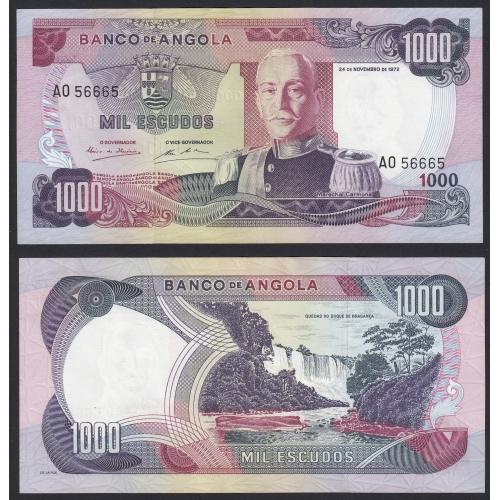 Nota de 1000 Escudos 1972 Marechal Carmona, 1000$00 24/11/1972 - Banco de Angola (Não Circulada) - Capicua