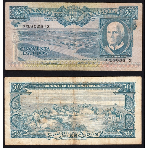 Nota de 50 Escudos 1962 Américo Tomás, 50$00 10/06/1962 - Banco de Angola (Circulada)