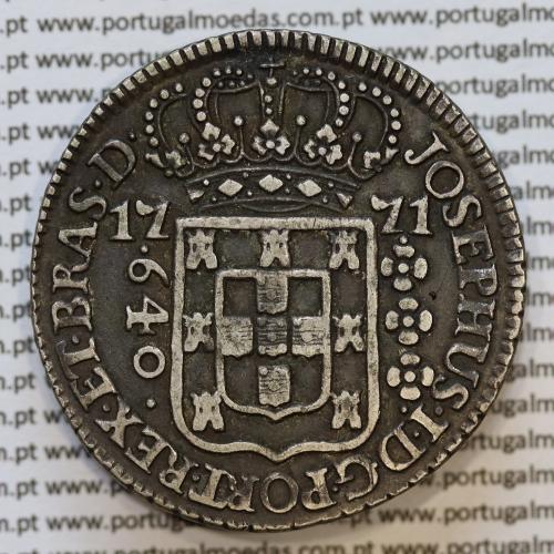 """Moeda 640 Réis 1771 Prata D. José I (Brasil) ou 2 Patacas prata 1771 Brasil D. José I, Variante """"SUBQ com ponto por cima do """"Q""""."""