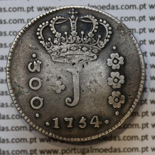 """Moeda 300 Réis 1754 Prata D. José I (Brasil) Série J, """"R"""". variante """"NATA"""" sem traço 1º """"A""""+ coroa diadema losango dois pontos."""