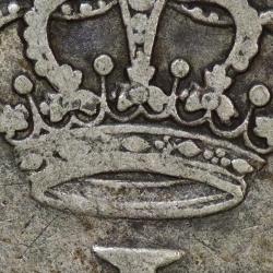 """Moeda 300 Réis 1755 Prata D. José I (Brasil) Série J, """"R"""". variante coroa diadema losango quatro pontos."""