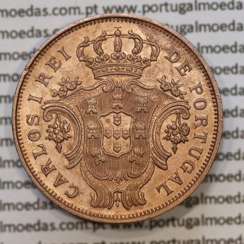 Moeda 5 Réis 1901 Cobre Açores D. Carlos I, BELA - Azores 5 Réis 1901 copper - World Coins Azores KM16